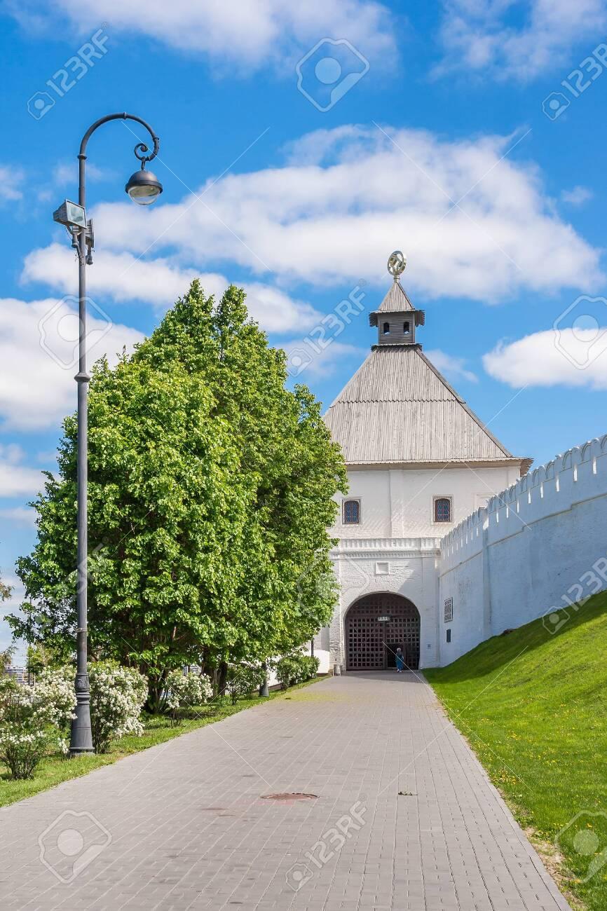 Kazan city, Republic of Tatarstan/Russia - may 24 2019: Taynitskaya tower of the Kremlin in the summer - 142402746