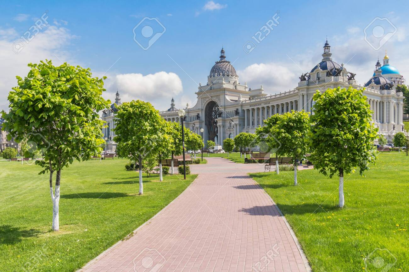 Kazan city, Republic of Tatarstan/Russia - may 23 2019: View of the Palace of Agriculture in Kazan from the alley - 142402787