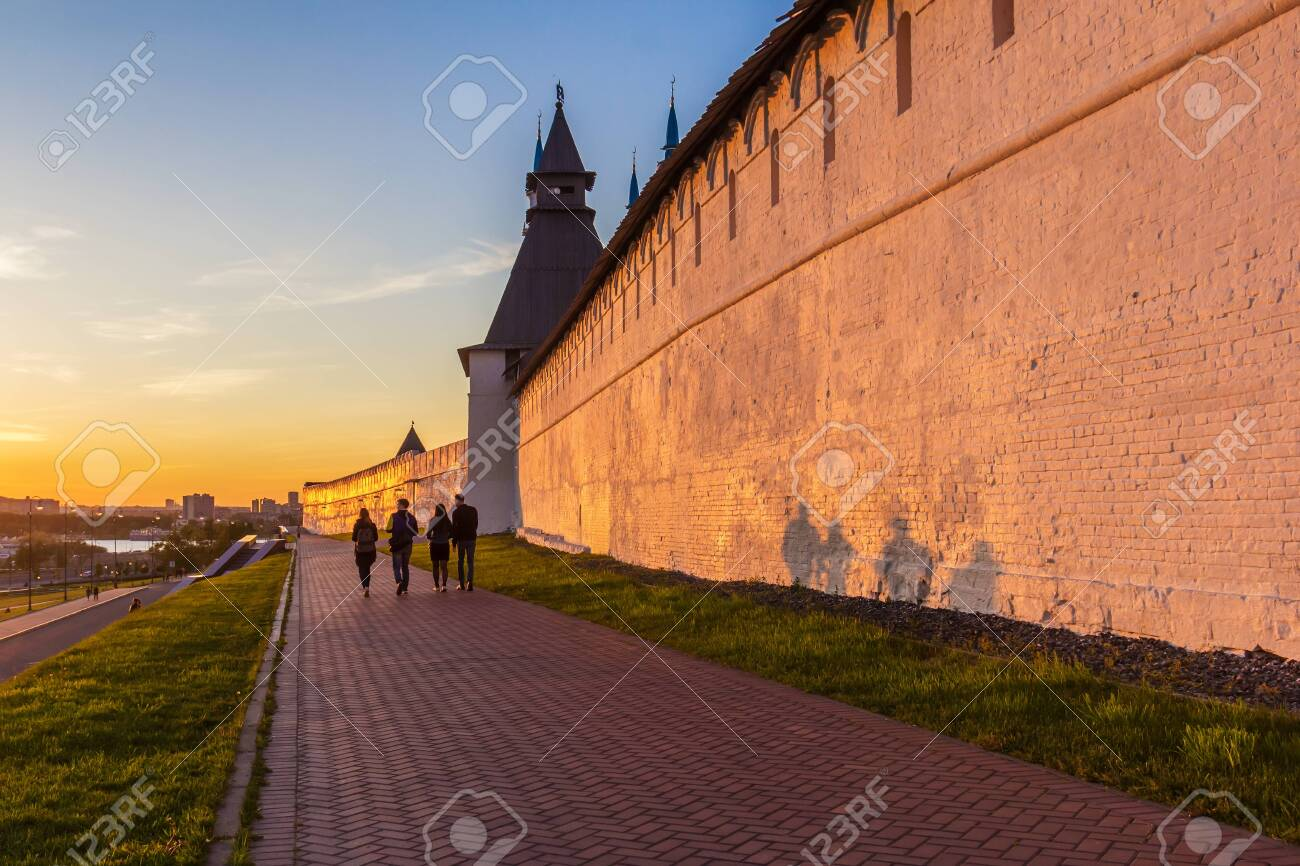 Kazan city, Republic of Tatarstan/Russia - may 25 2019: Sunset light on the Preobrazhenskaya tower of the Kremlin - 142402793