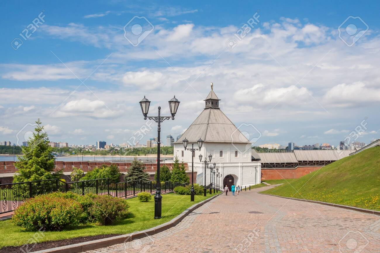 Kazan city, Republic of Tatarstan/Russia - may 23 2019: View of the tower of the Kazan Kremlin - 142402794