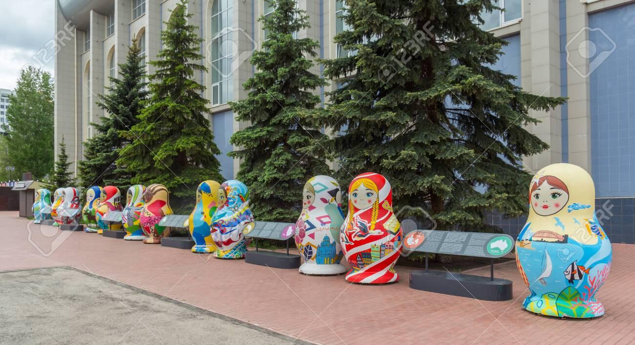 Samara city, Samara region/Russia - may 21 2019: Matryoshka for the World Cup 2018 - 142402859