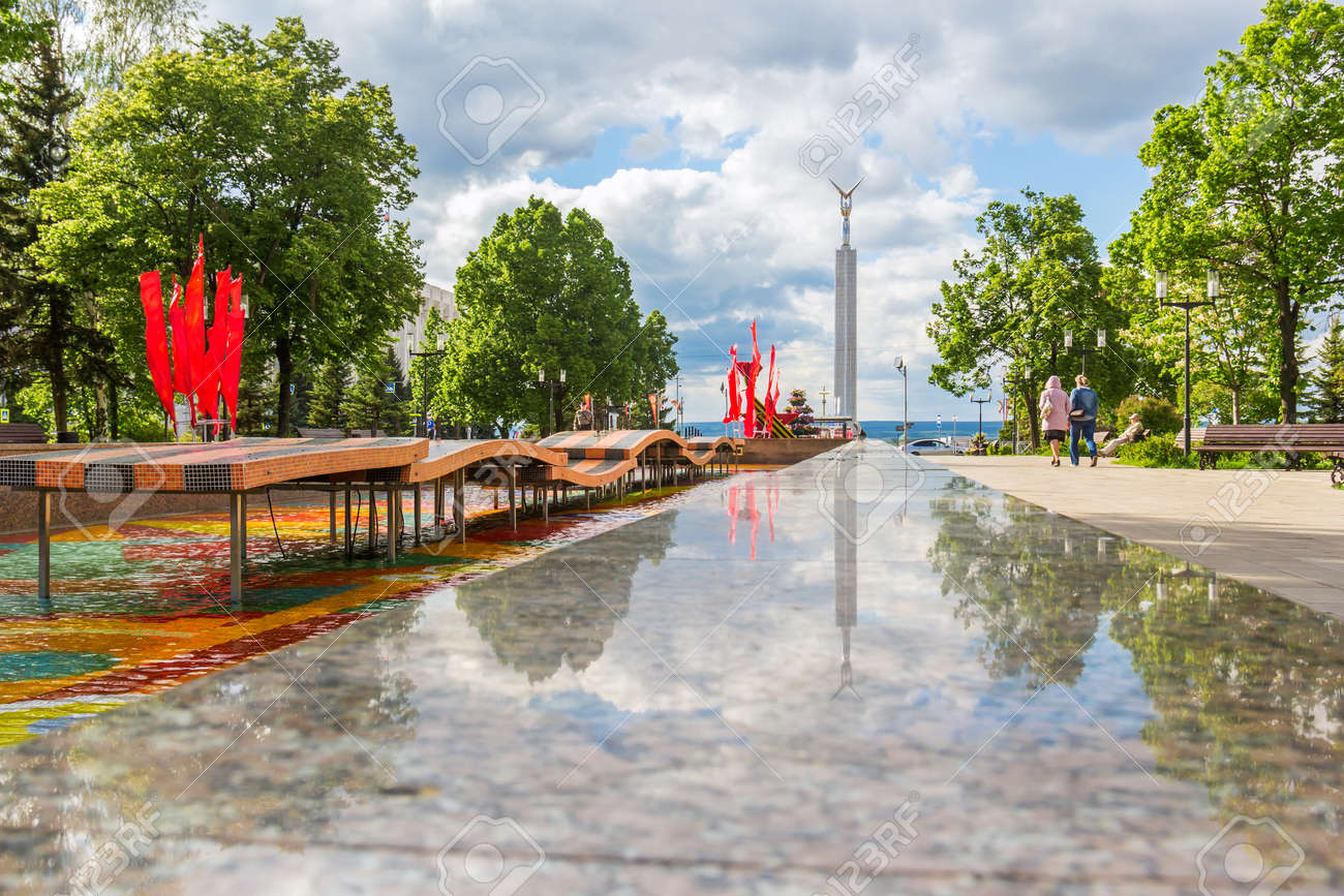 Samara city, Samara region/Russia - may 20 2019: Reflection in the fountain in honor of the 30th anniversary of the victory in the war - 142402951