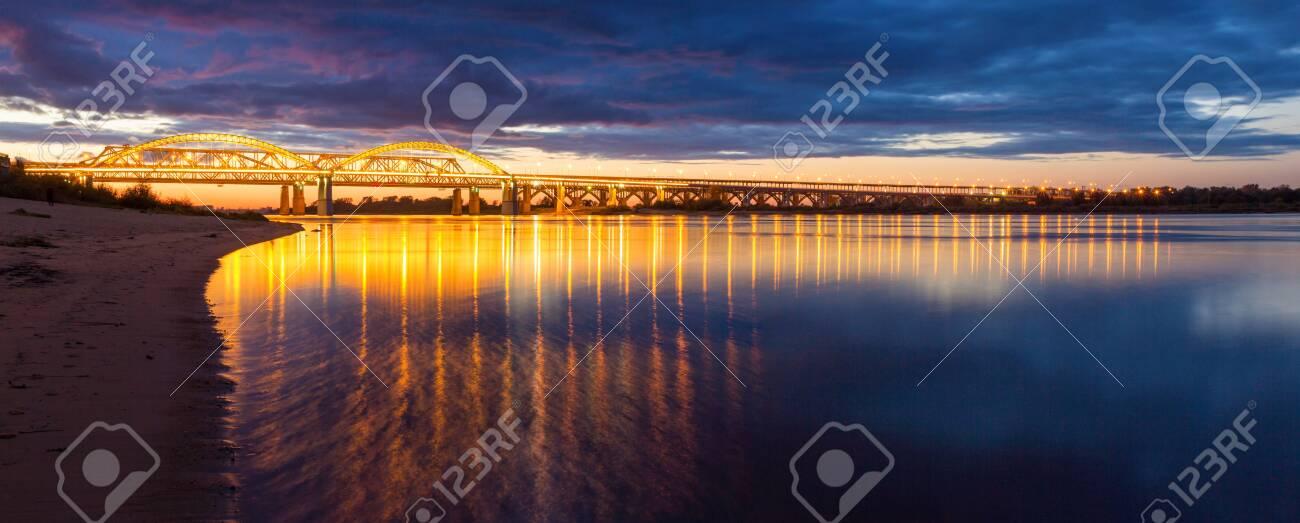 Panorama of the illuminated bridge across the Volga in Nizhny Novgorod, Russia - 142737666