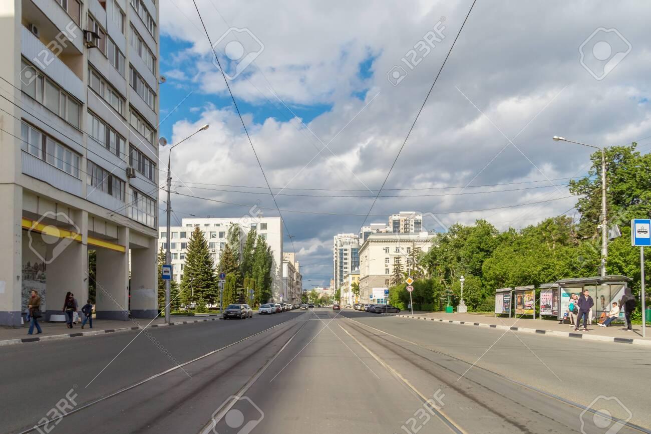Samara city, Samara region/Russia - may 21 2019: Street with tram tracks on a sunny day - 142403128