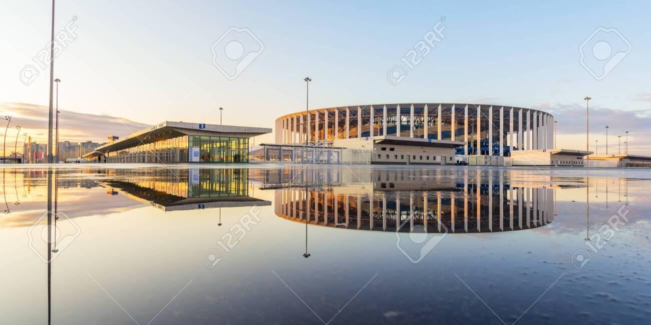 Stadium in Nizhny Novgorod with reflection at sunset - 142731677