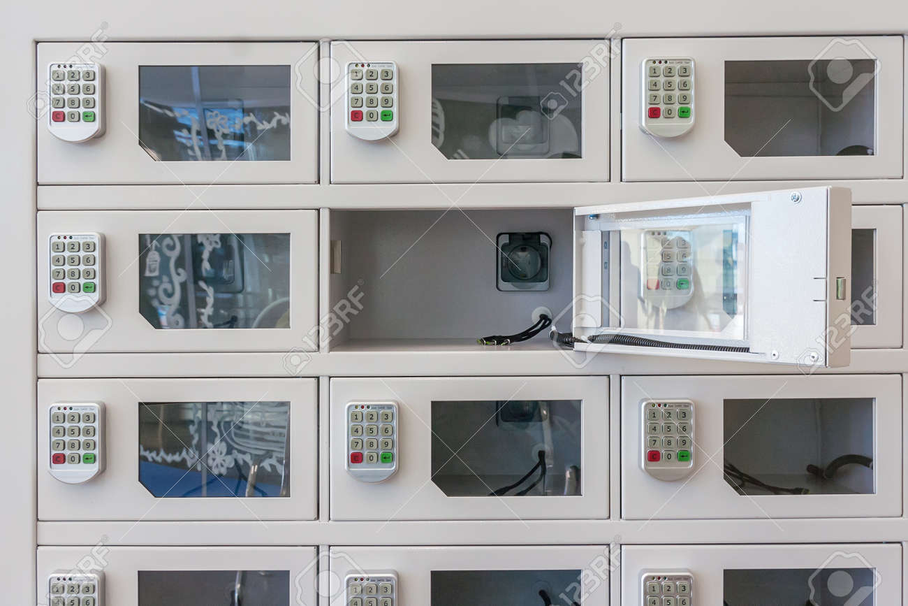 Safes, boxes for charging phones and equipment at the station - 144232387