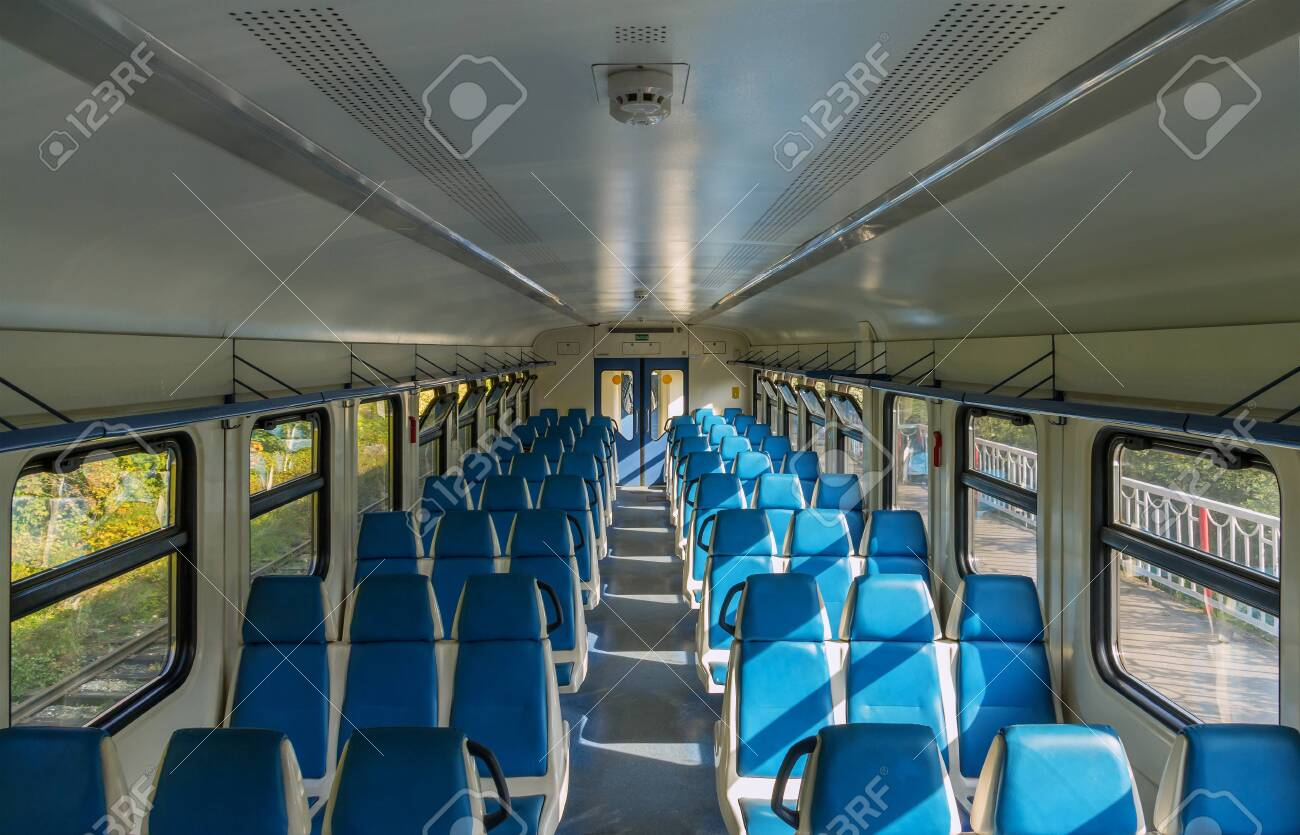 View of the interior of an electric train car without passengers in Russia - 144307571