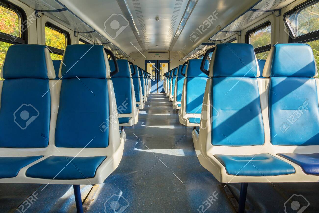 Salon of an electric train car without passengers in Russia - 144307683