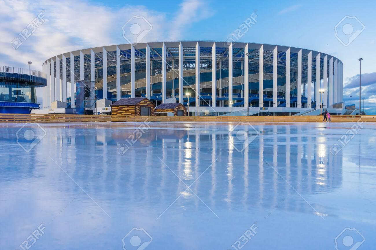 Nizhny Novgorod city, Nizhny Novgorod region/Russia - mart 12 2020: Ice rink near the stadium - 144363492