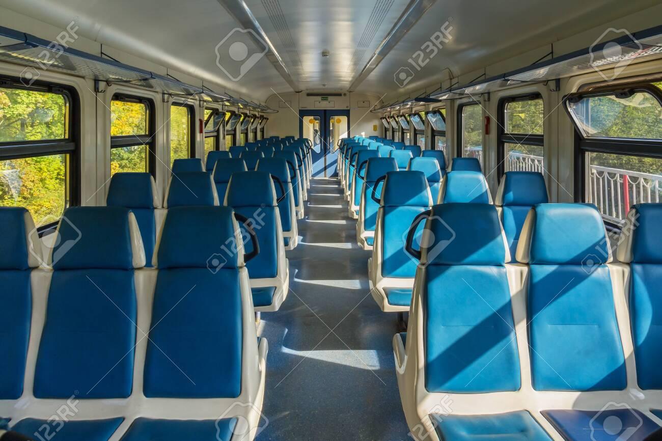 Empty electric train car in Russia - 144607996