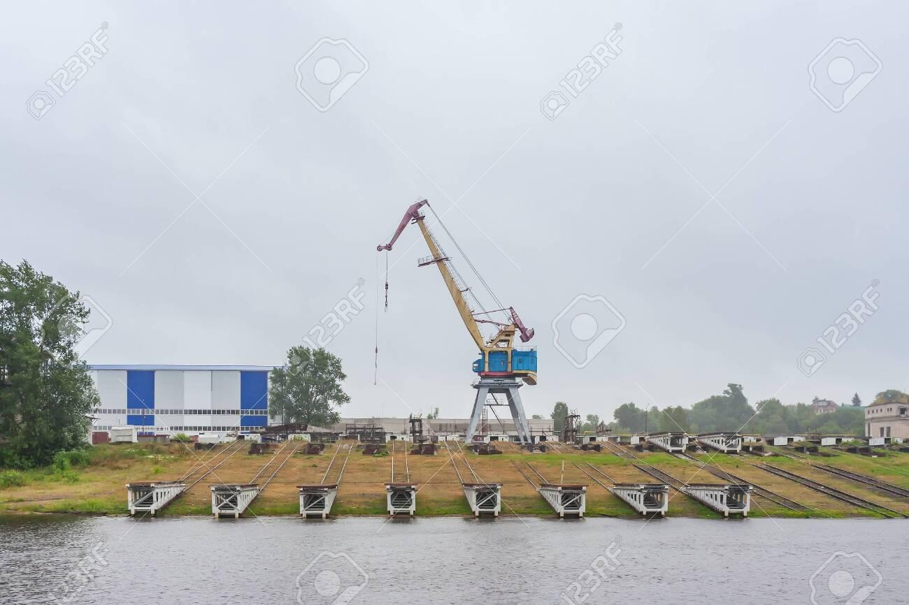 Shipyard near Gorodets in the Nizhny Novgorod region - 144809239