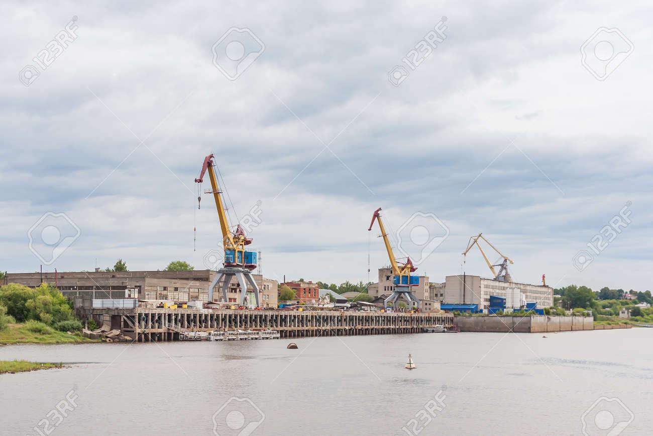 Shipyard cranes in Gorodets Russia - 144809294