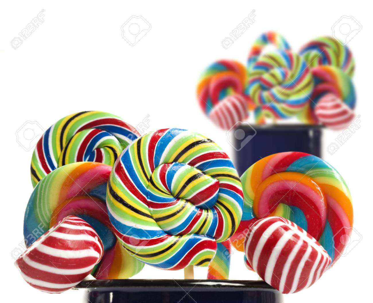Sugar candy lollipop collection on white Stock Photo - 12879160