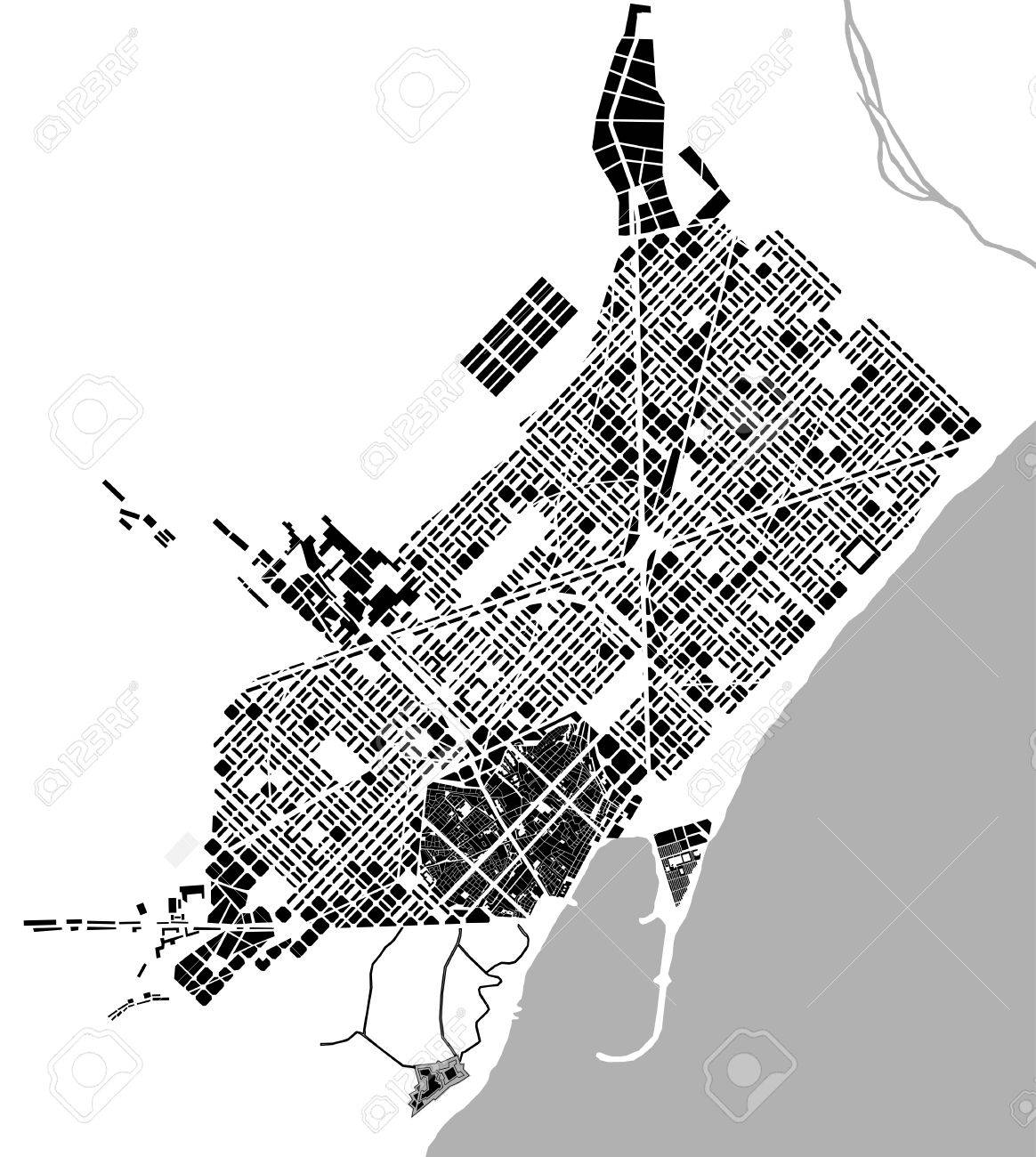 Barcelona In Spain Map.Historical Map Of The City Center Of Barcelona Spain Royalty Free