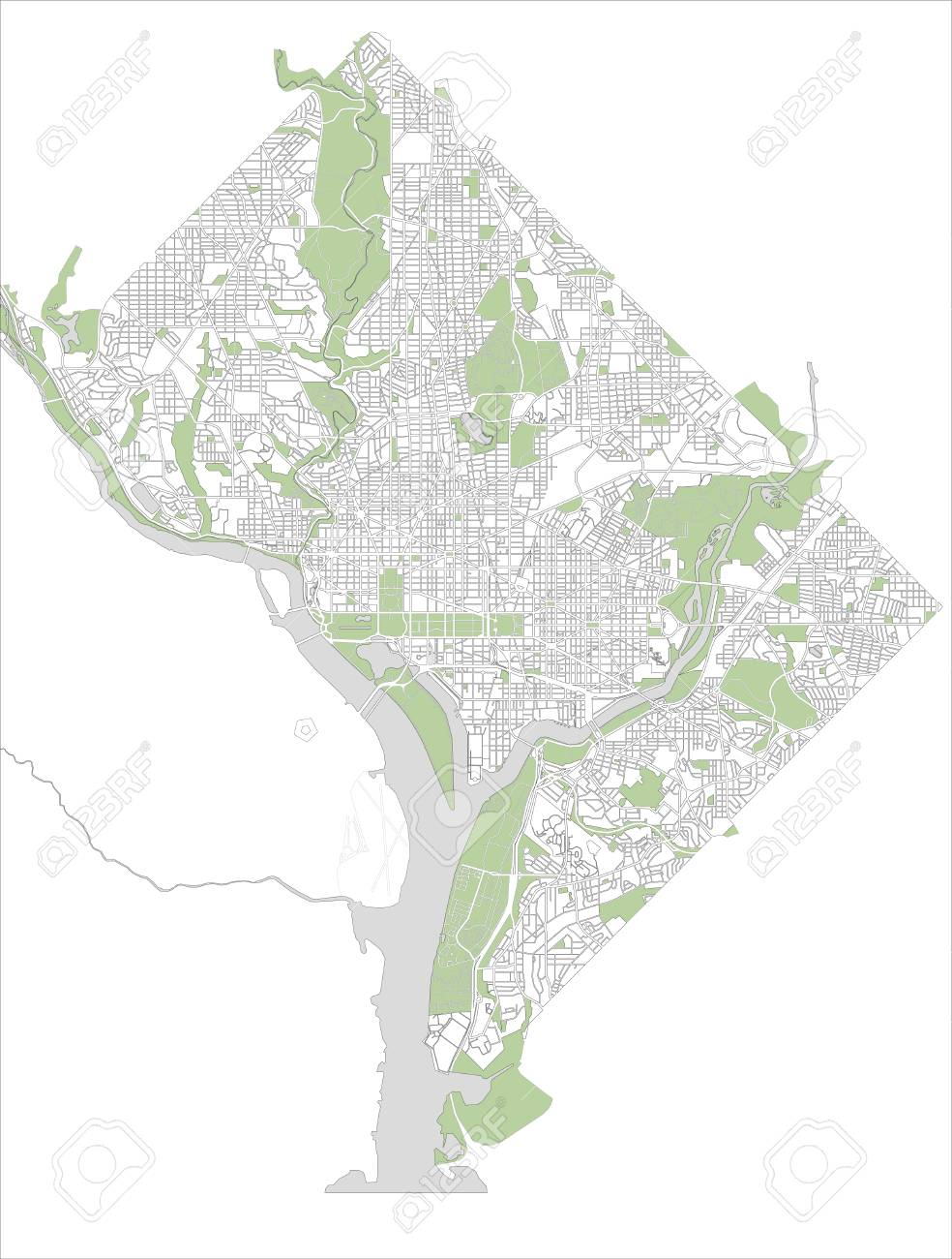 Map Of The City Of Washington, D.C., USA Royalty Free Cliparts ...