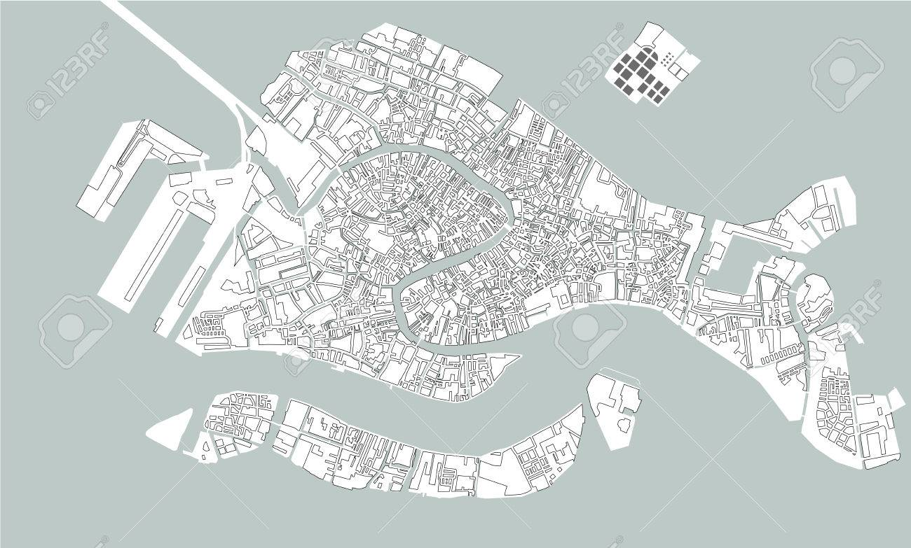 Map Of Italy Venice.Vector Map Of The City Of Venice Italy