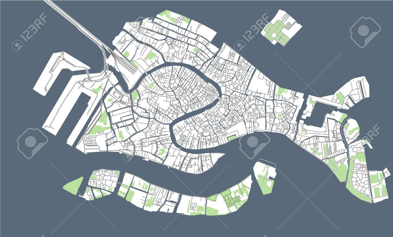 Illustration Map Of The City Of Venice Italy Stock Photo Picture