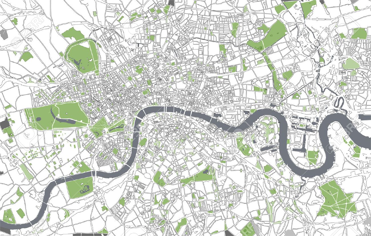 Vector Map Of The City Of London, Great Britain Royalty Free ... on