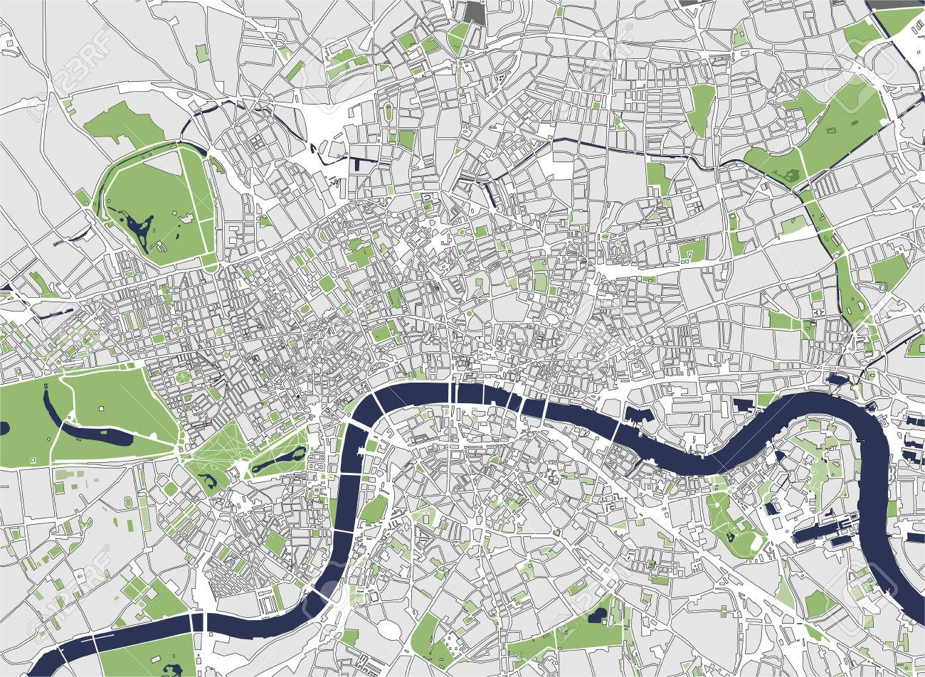 Map Of The City Of London.Vector Map Of The City Of London Great Britain