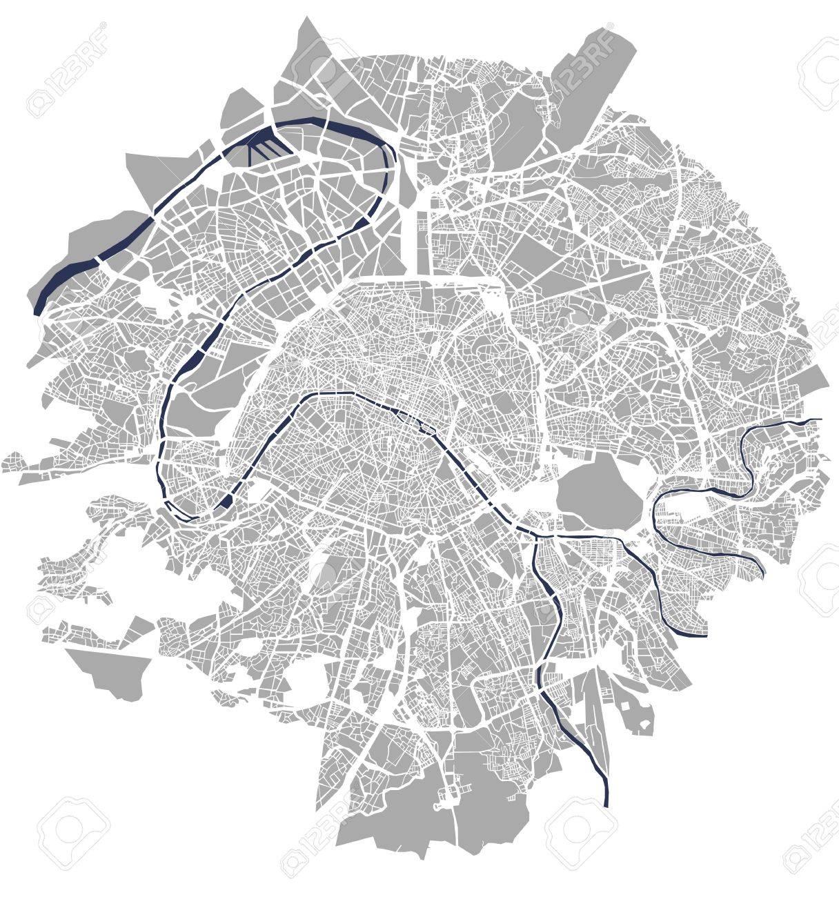 パリフランスの都市の地図のイラスト素材ベクタ Image 77243933