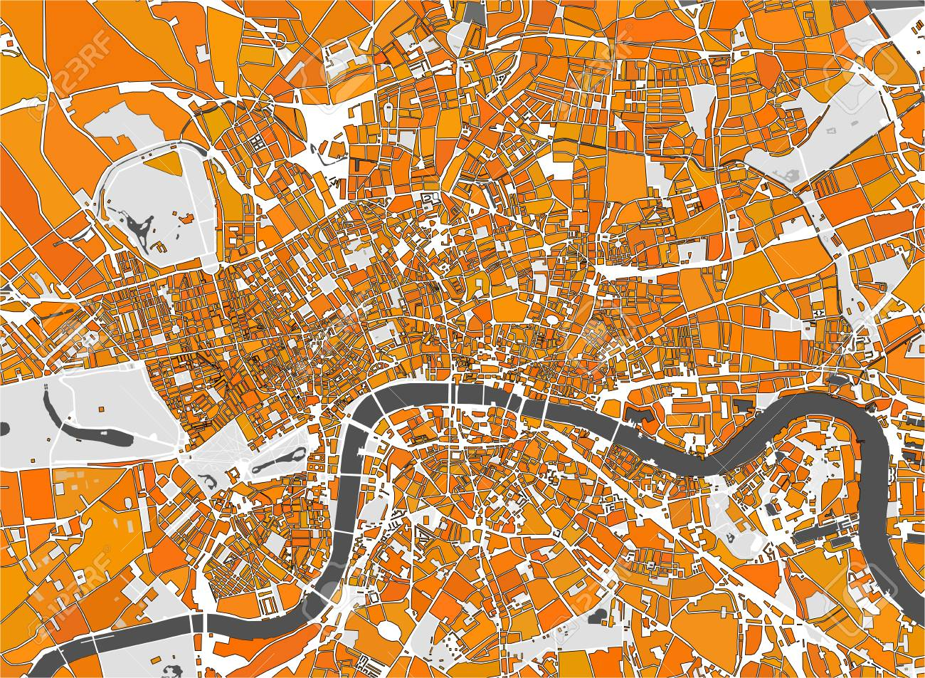 Map Of City Of London.Vector Multicolor Map Of The City Of London Great Britain Royalty