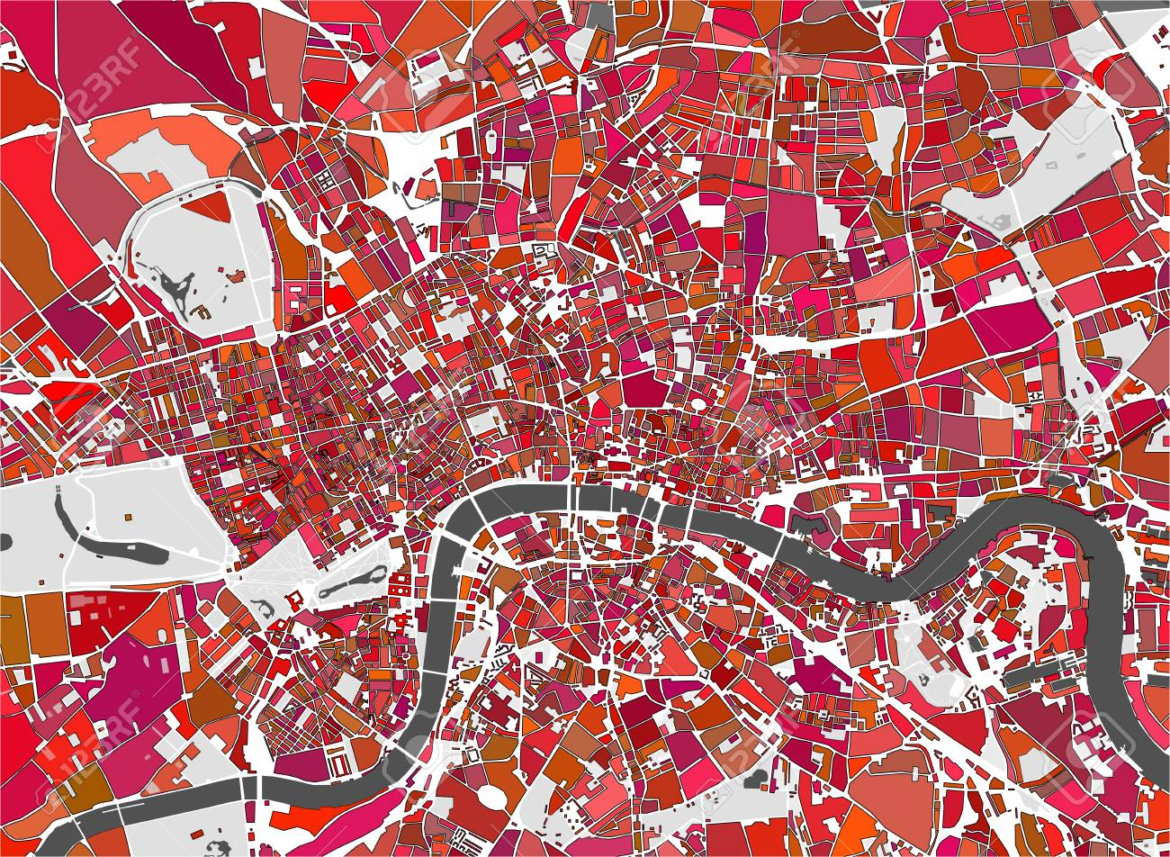 Map Of The City Of London.Vector Multicolor Map Of The City Of London Great Britain Royalty