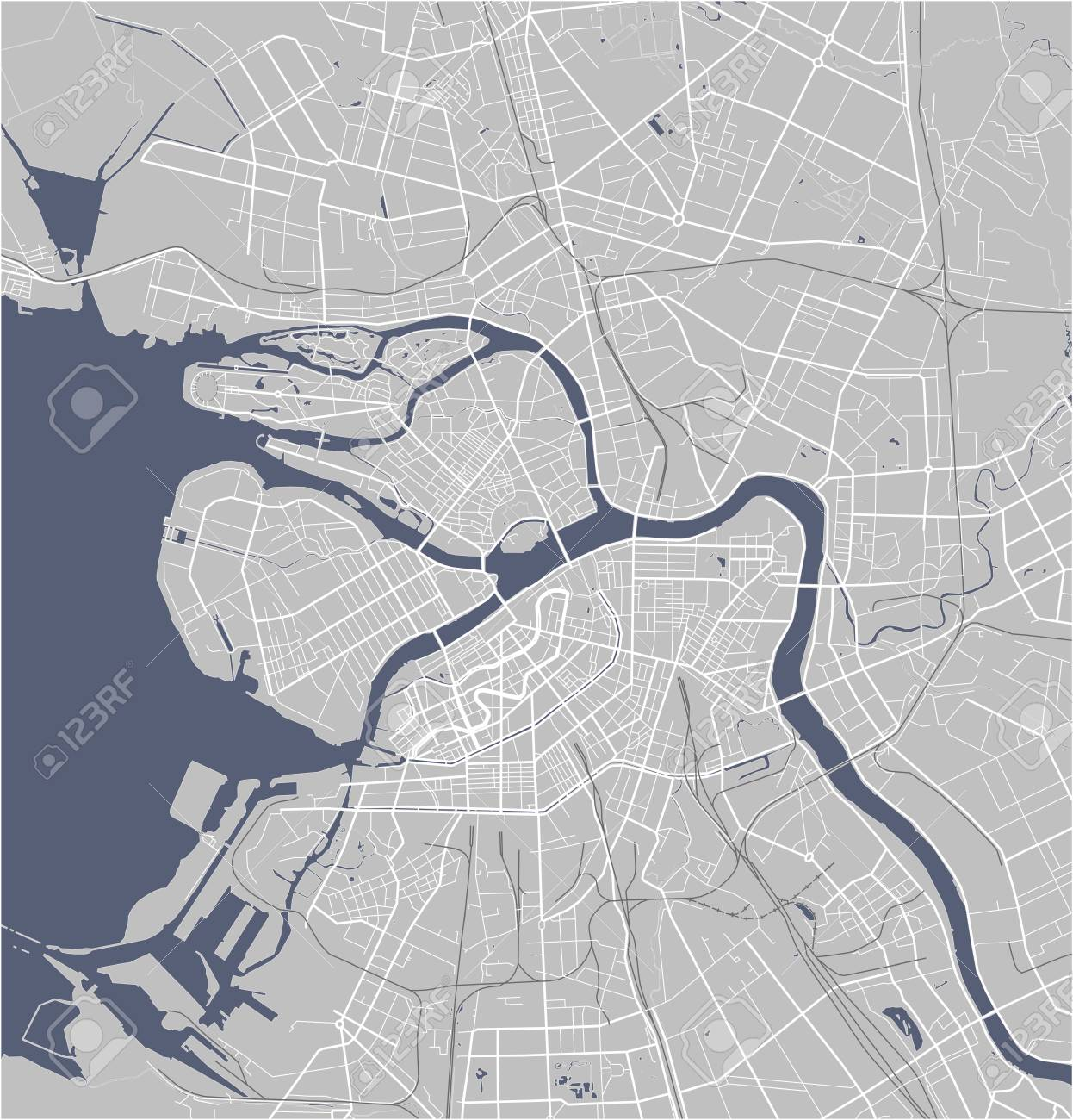 Map Saint Petersburg Russia Royalty Free Cliparts Vectors And