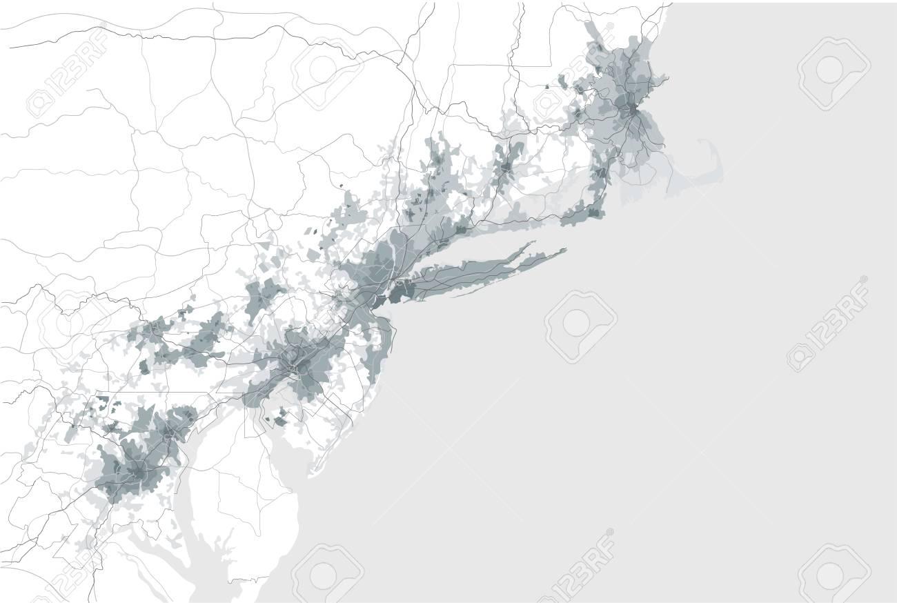 Map Of The Agglomeration Washington, New York City Philadelphia ...