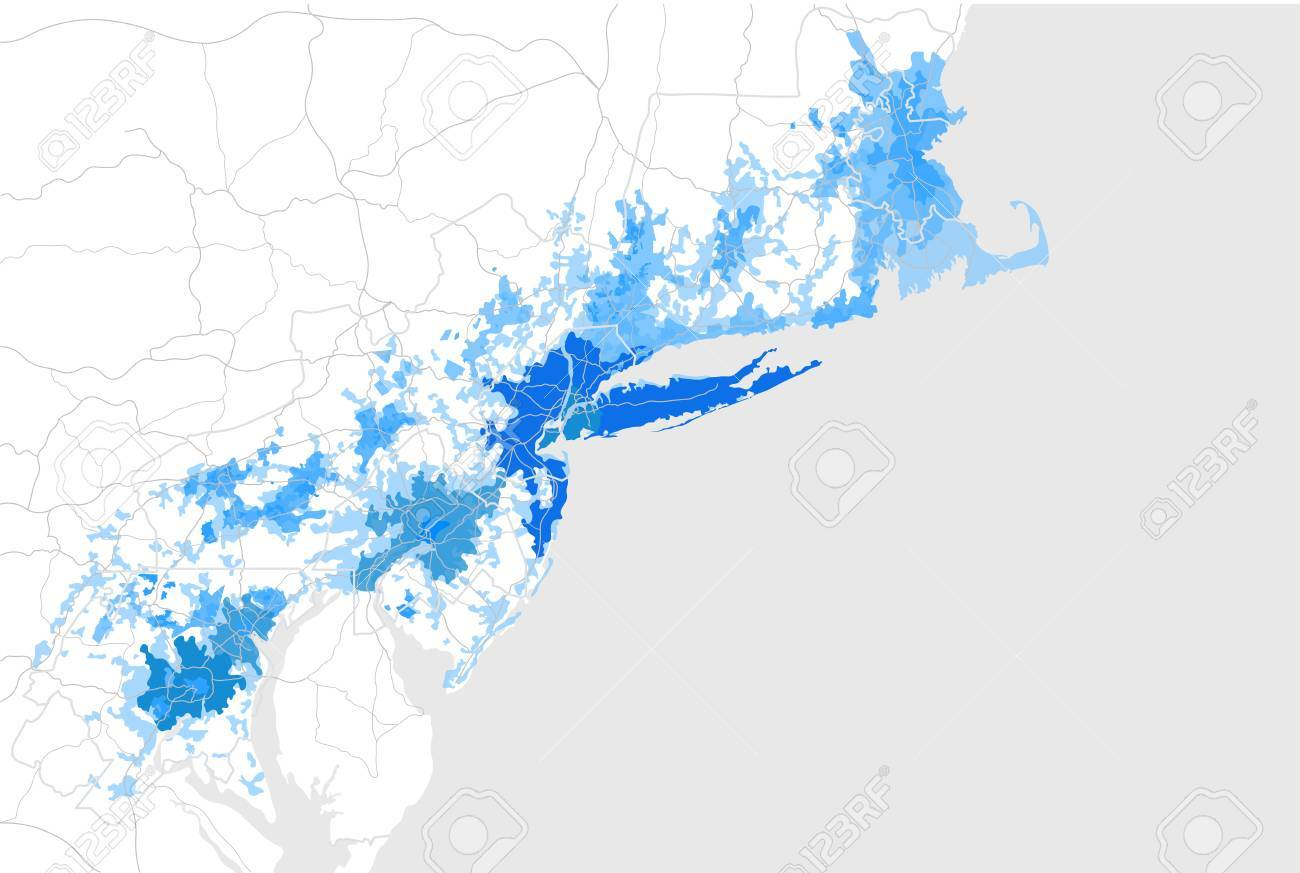 Map Of The Agglomeration Washington New York City Philadelphia