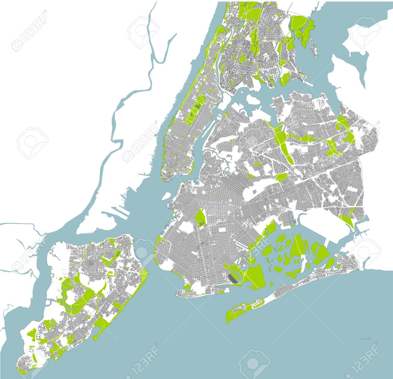 New York City On A Map Of The Us.Map Of The New York City Ny Usa