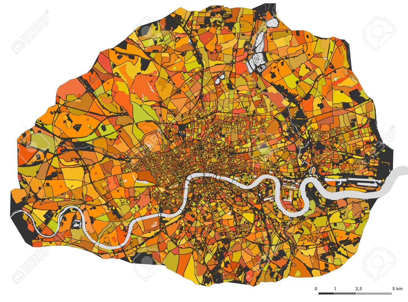 London Great Britain Map.Stock Illustration