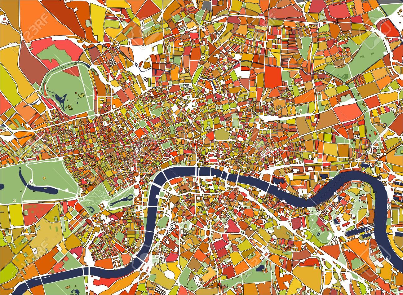 Immagini Della Cartina Della Gran Bretagna.Immagini Stock Illustrazione Mappa Multicolore Della Citta Di Londra Gran Bretagna Image 88551657