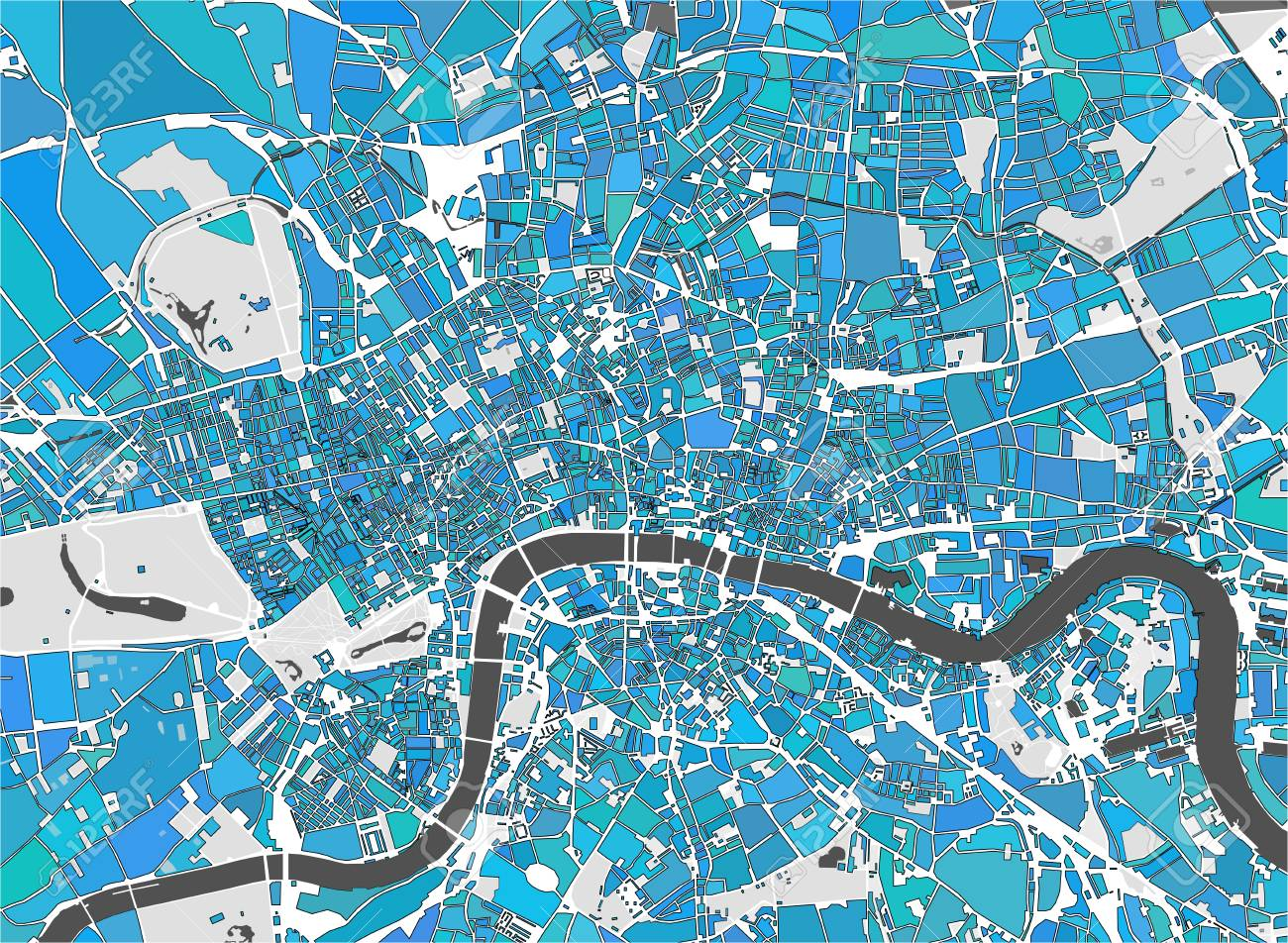 Map Of The City Of London.Stock Illustration