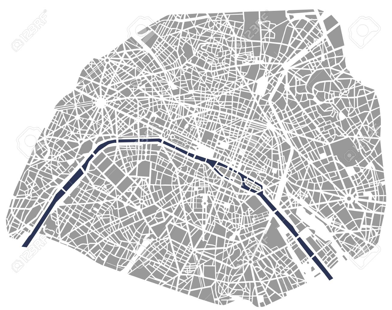 illustration map of the city of Paris, France - 91720874