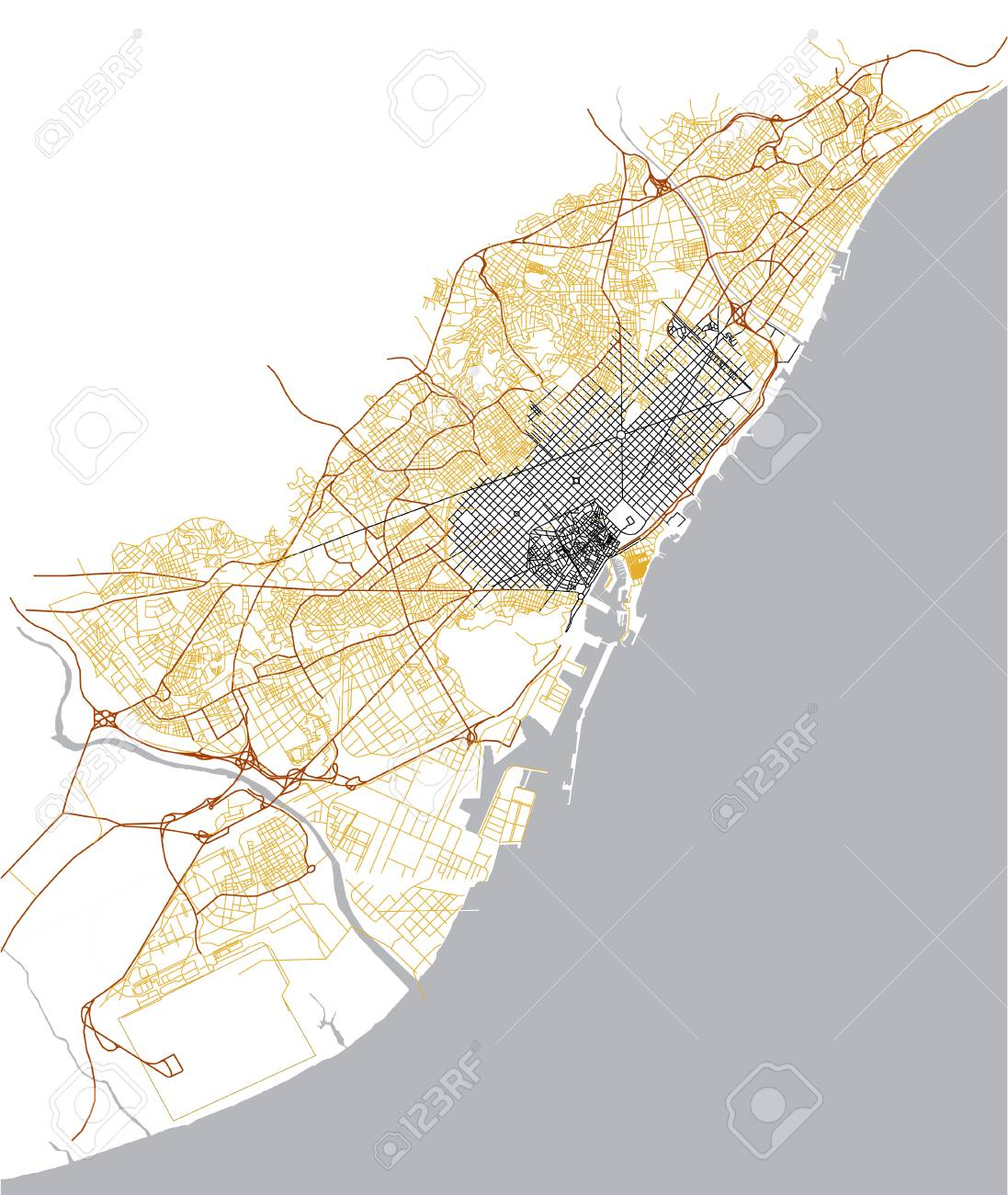 Illustration Map Of The City Of Barcelona Spain Catalonia Stock