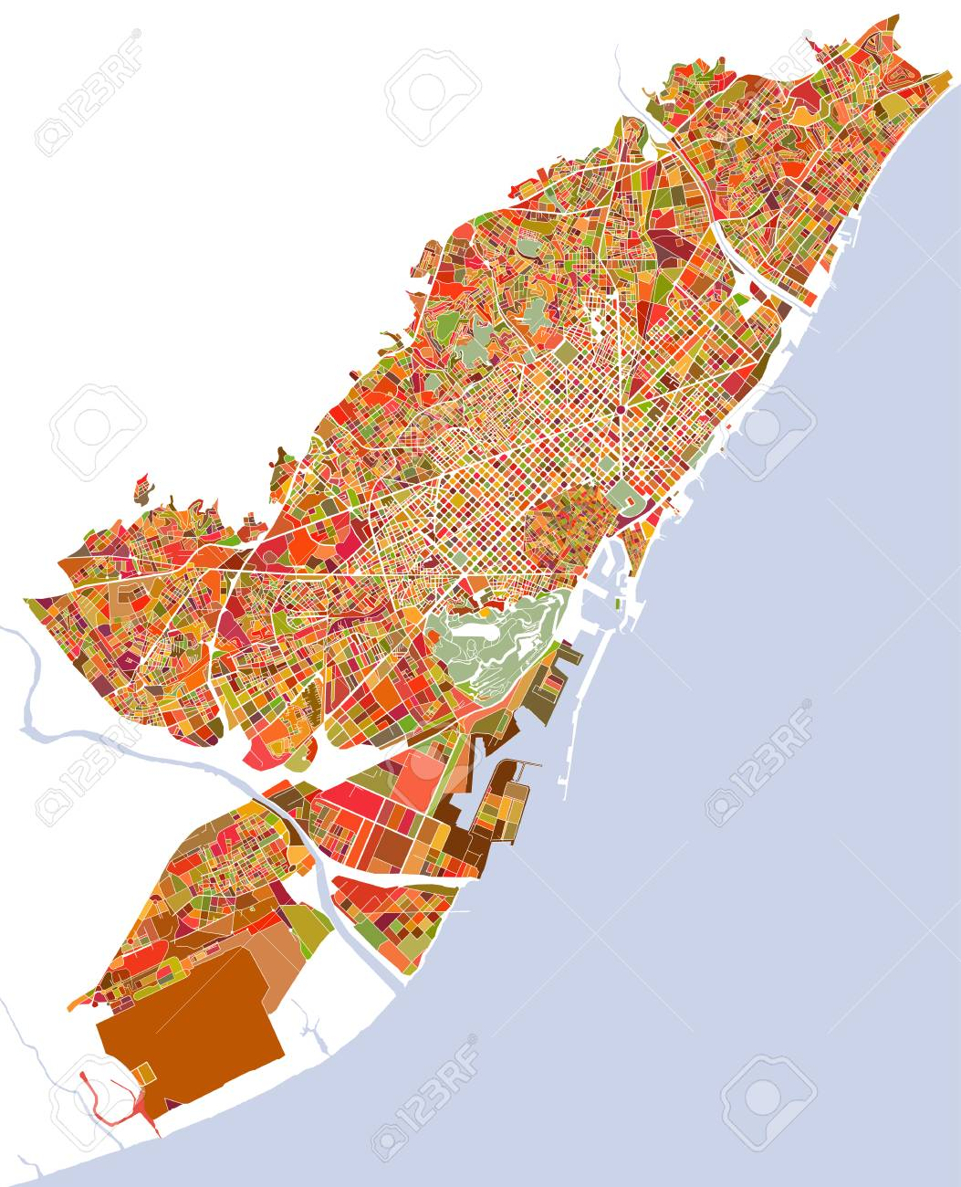 Barcelona In Spain Map.Illustration Map Of The City Of Barcelona Spain Catalonia Stock