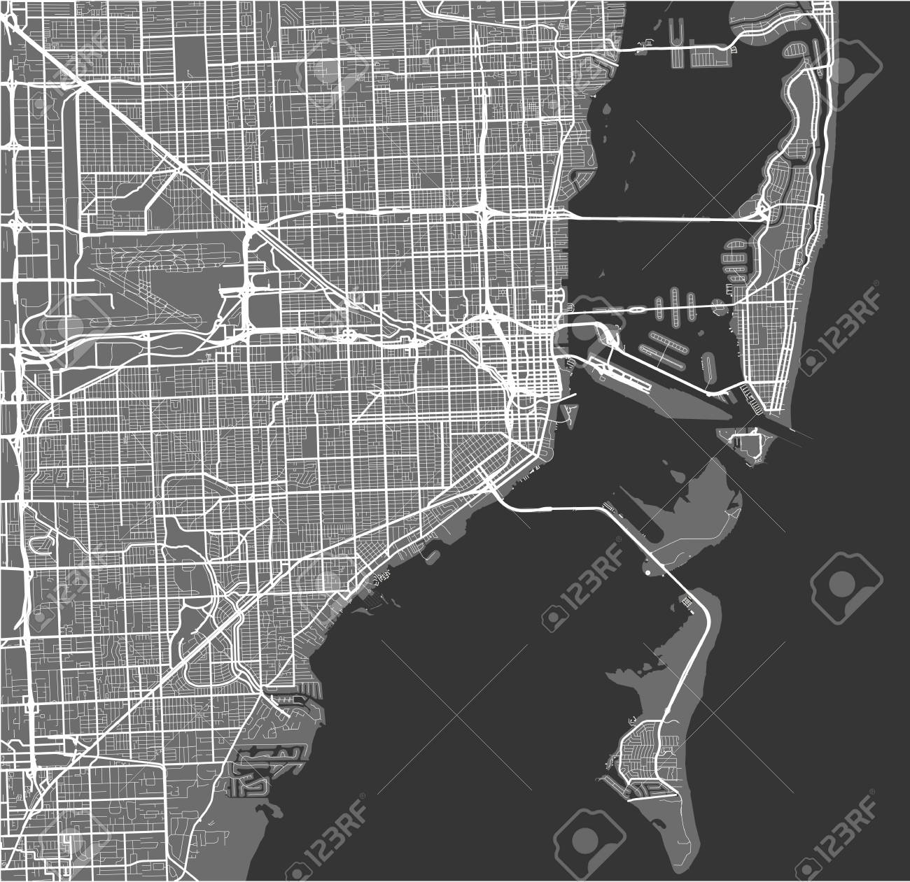 Vector Map Of The City Of Miami Usa Royalty Free Cliparts Vectors