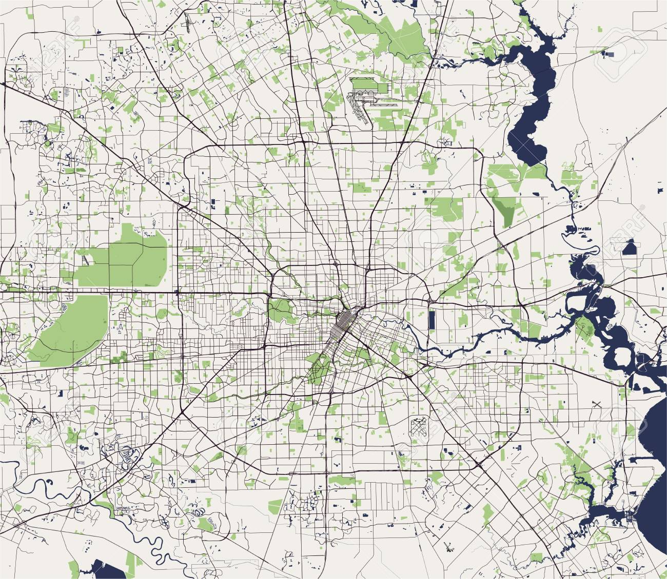 Map State Of Texas.Map Of The City Of Houston U S State Of Texas Usa