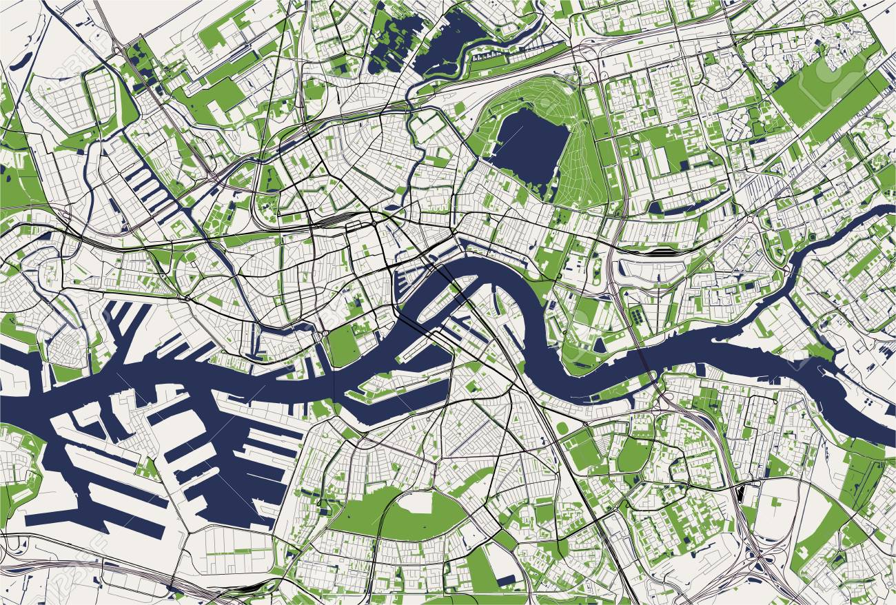 map of the city of Rotterdam, in South Holland, Netherlands