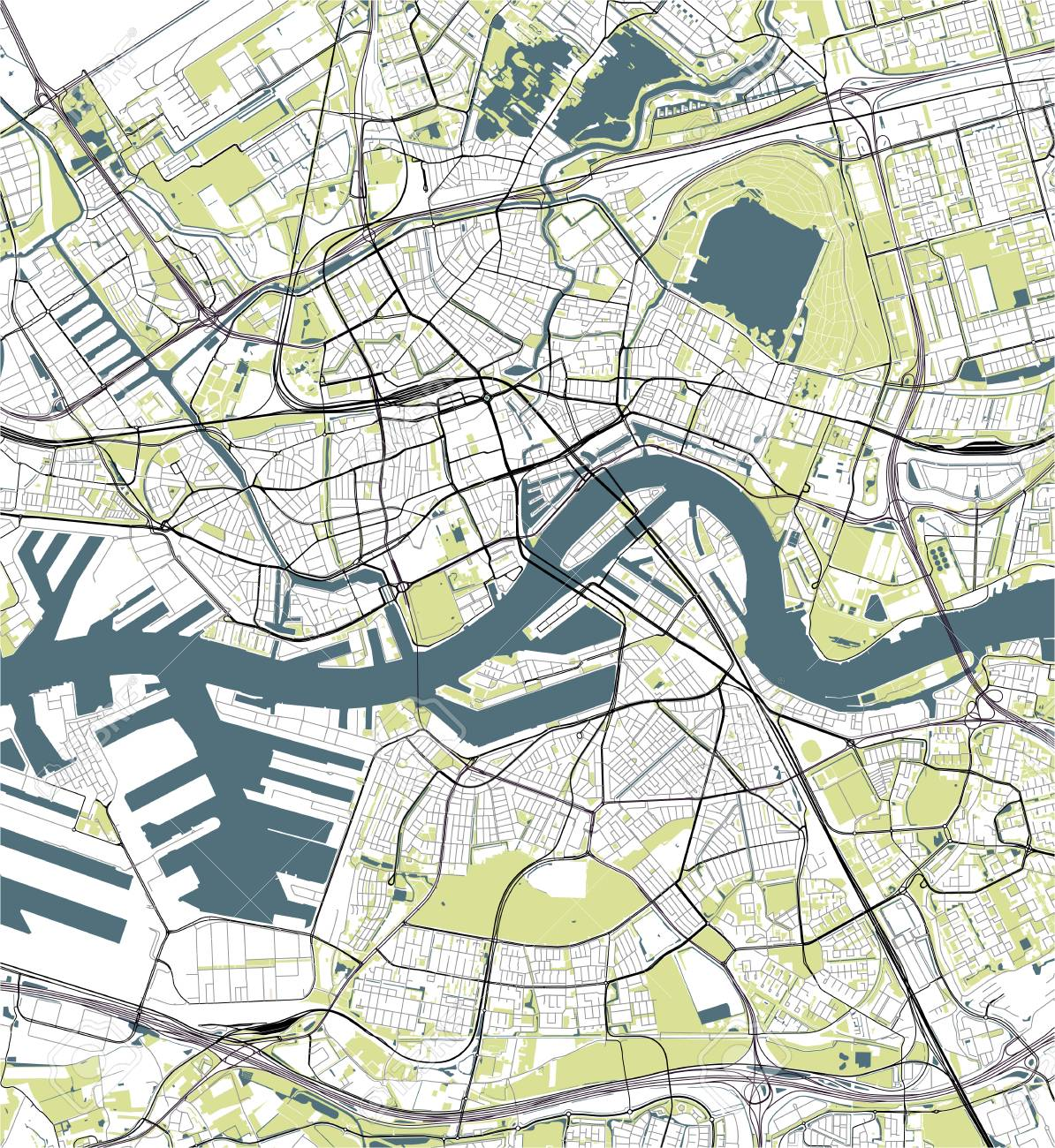 Vector Map Of The City Of Rotterdam, In South Holland, Netherlands ...