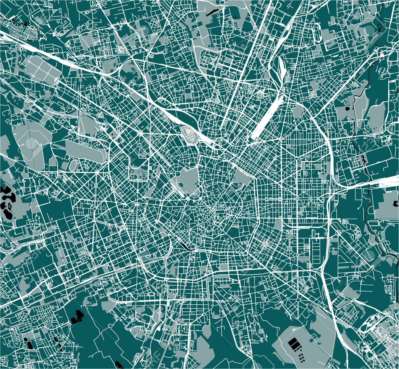 Map Of The City Of Milan, Capital Of Lombardy, Italy Stock Photo ...