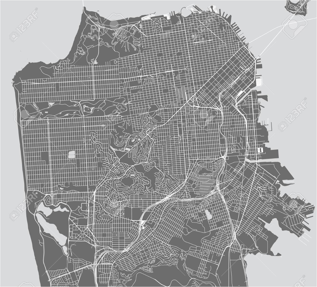 vector map of the city of San Francisco, USA on porterville city street map, springfield city street map, irvine city street map, san pablo city street map, santa clara county street map, jackson city street map, austin city street map, tacoma city street map, medford city street map, aurora city street map, snohomish city street map, wichita city street map, new haven city street map, inglewood city street map, ithaca city street map, napa city street map, flagstaff city street map, johannesburg city street map, billings city street map, madison city street map,