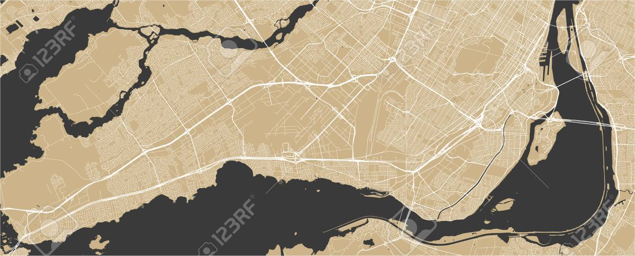 Vector Map Of The City Of Montreal , Canada Lizenzfrei Nutzbare ...