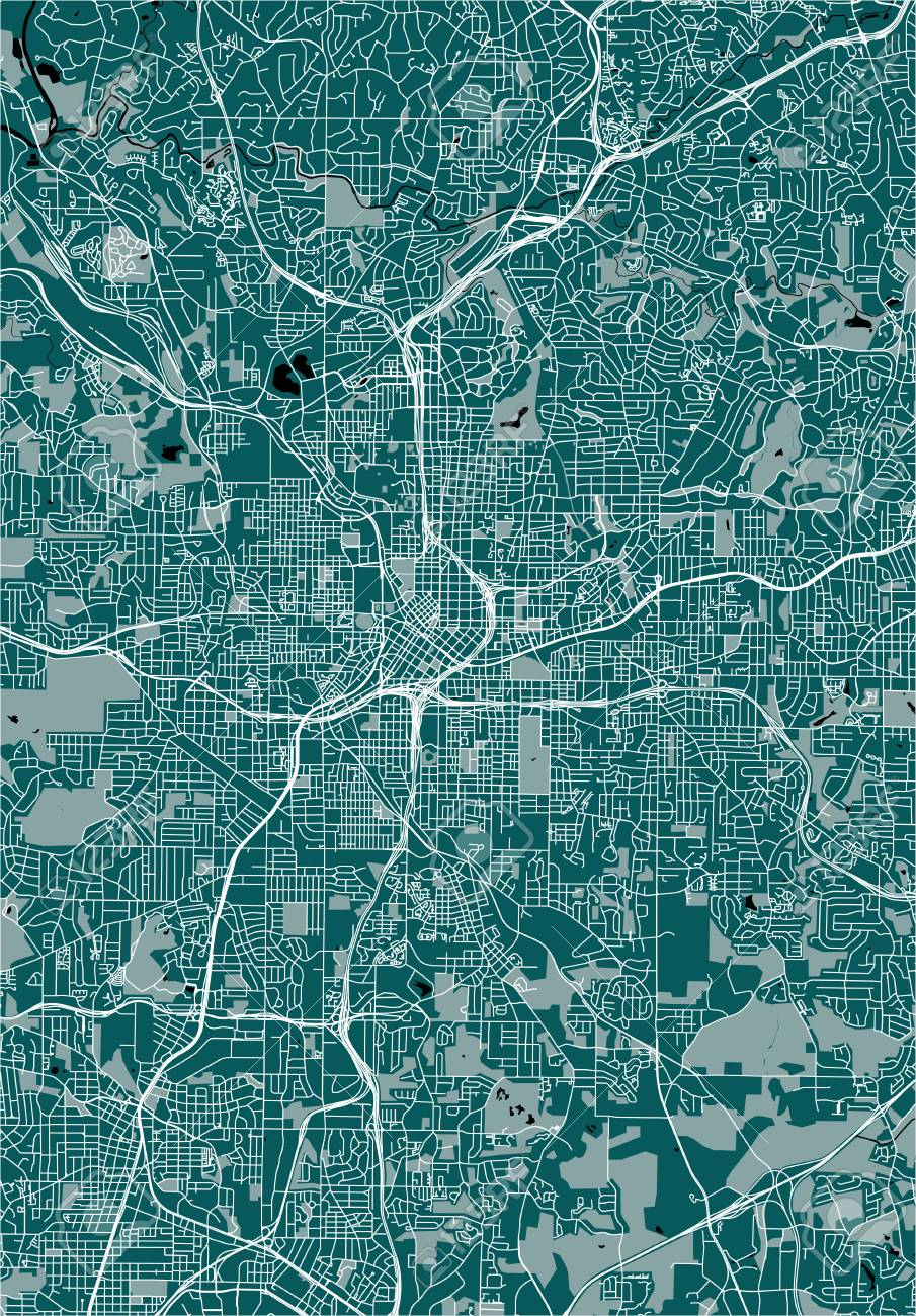 Vector Map Of The City Of Atlanta, USA Royalty Free Cliparts ... on