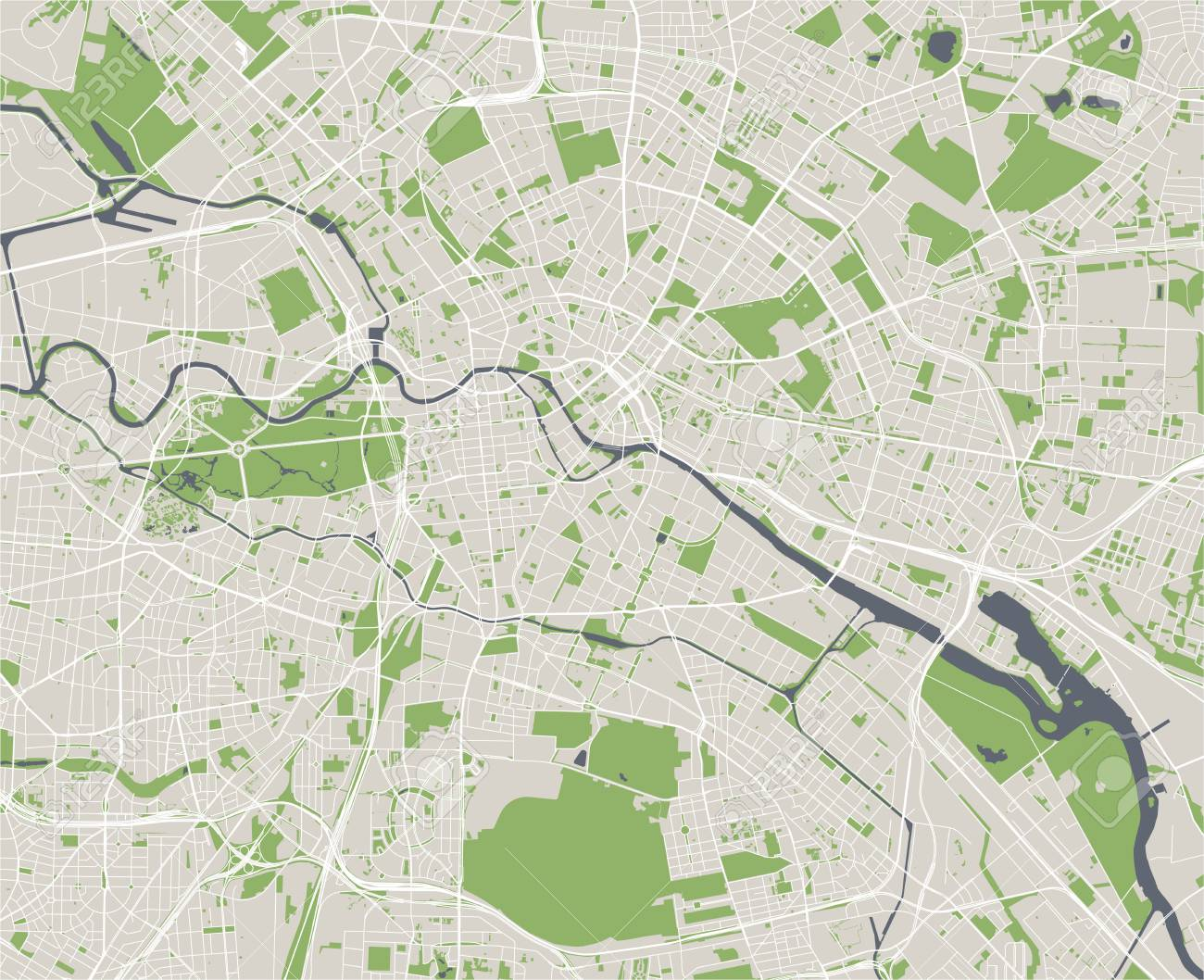 Vector Map Of The City Of Berlin, Germany Royalty Free Cliparts ...