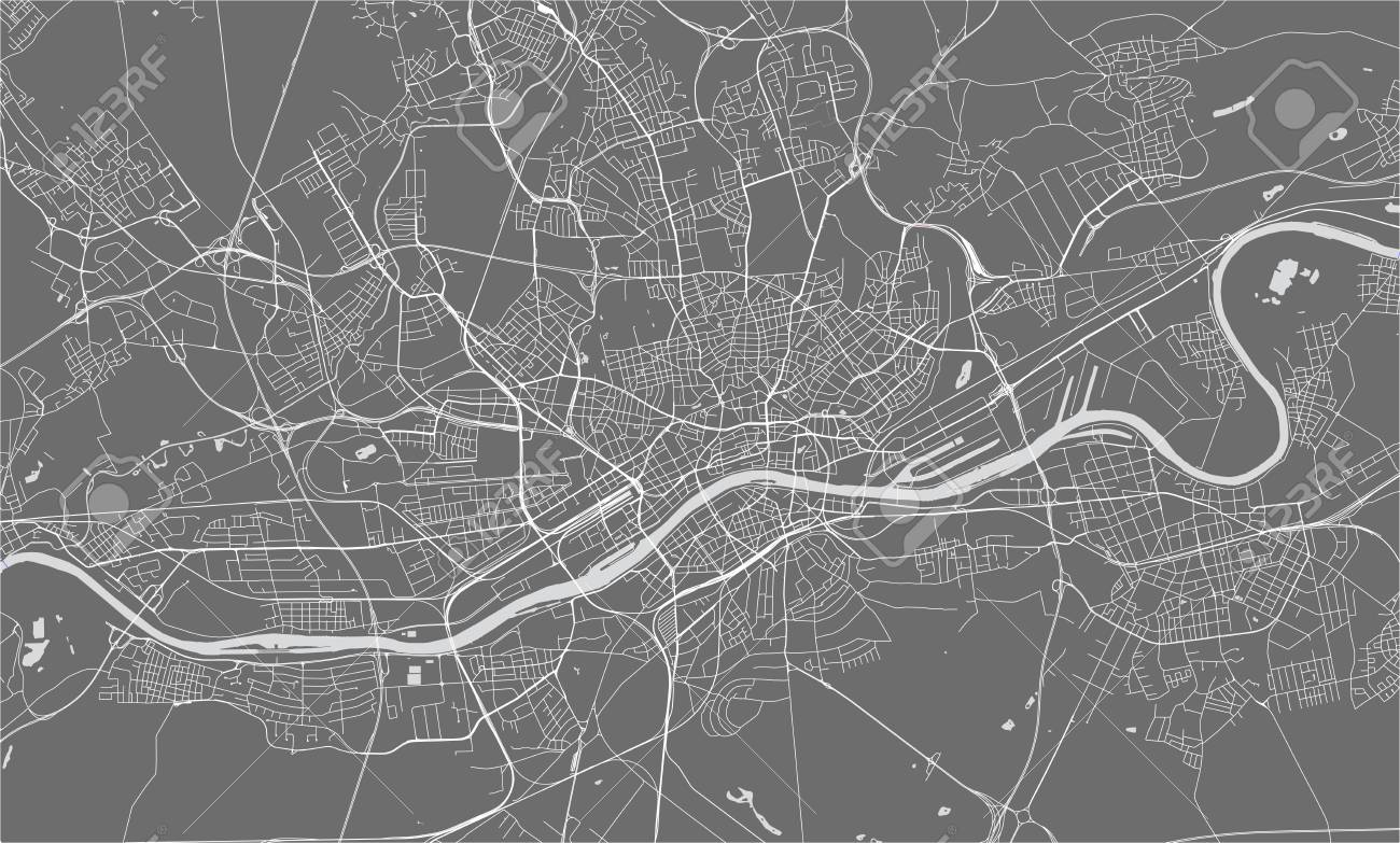 Vector Map Of The City Of Frankfurt Am Main Hesse Germany Royalty