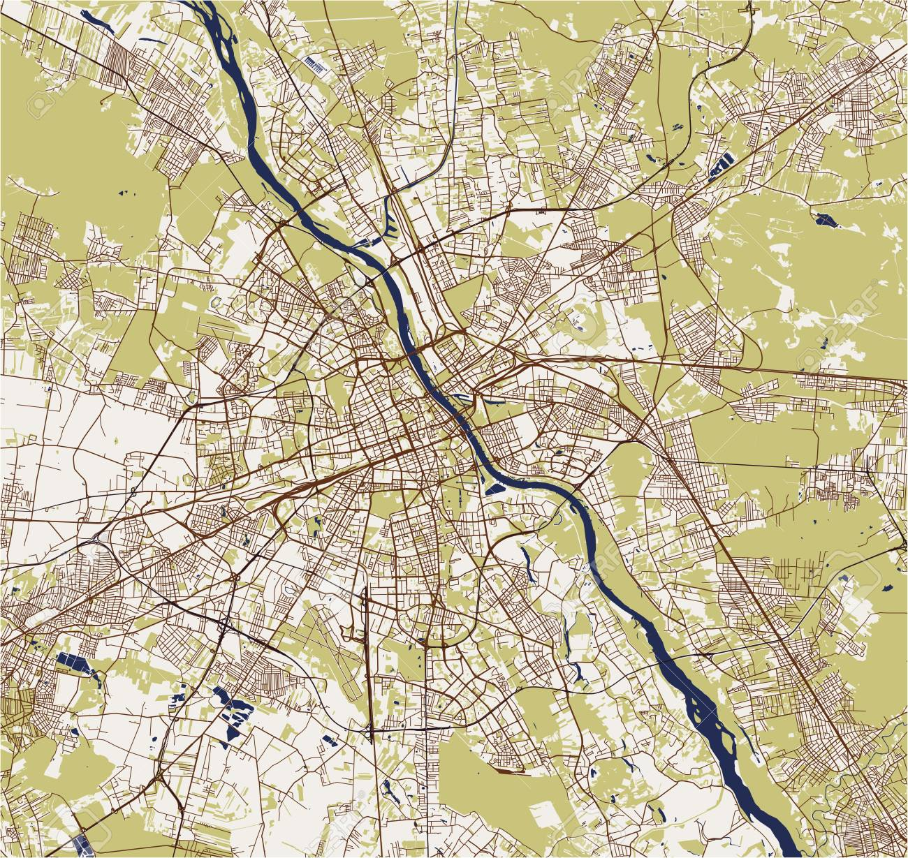Vector Map Of The City Of Warsaw, Poland Royalty Free Cliparts ...