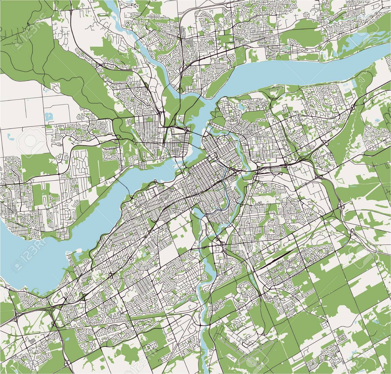 Vector Map Of The City Of Ottawa Ontario Canada Royalty Free