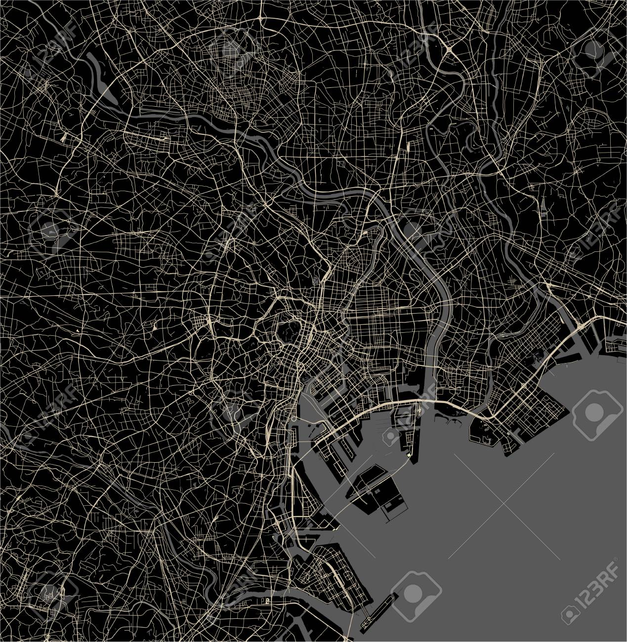 Picture of: Vector Map Of The City Of Tokyo Kanto Island Honshu Japan Royalty Free Cliparts Vectors And Stock Illustration Image 126772401