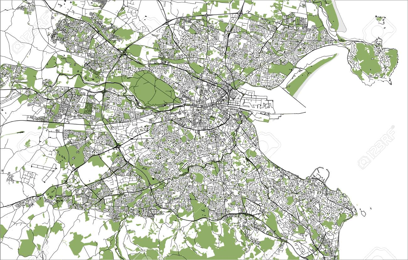 Dublin Ireland Map Of City.Vector Map Of The City Of Dublin Ireland